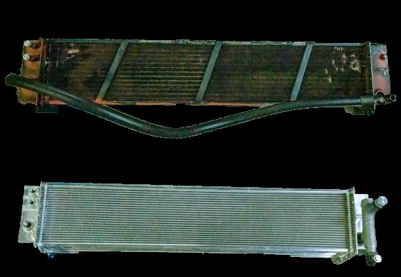 an original vs an all aluminum replacement oil cooler