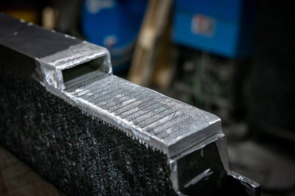 a welded aluminum oil cooler