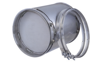 dpf or doc filter with gasket and clamps