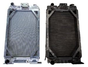 a dirty and cleaned radiator side-by-side