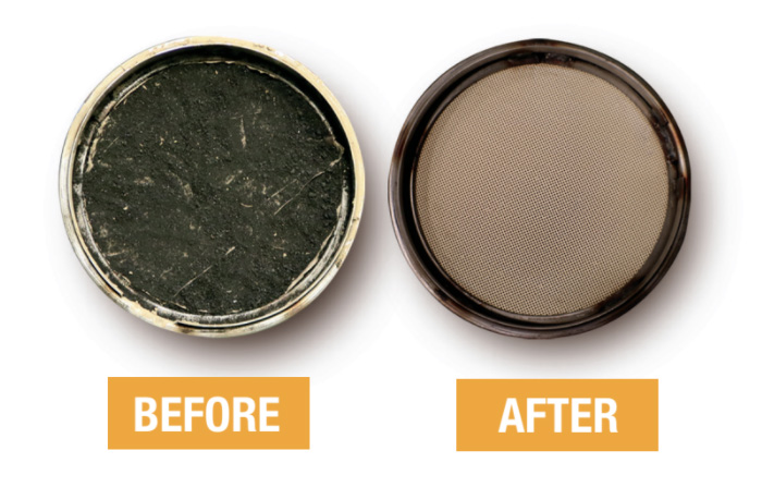 before and after cleaning of a dpf/doc filter