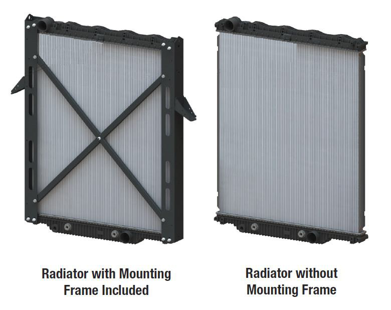 a radiator with a mounting frame next to a radiator without a mounting frame