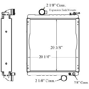 Toyota 410025 Radiator drawing labeled with sizing info