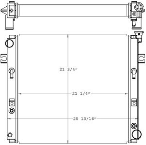 Toyota 410168 Radiator drawing labeled with sizing info