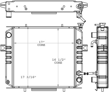 Toyota 410226 Radiator drawing labeled with sizing info