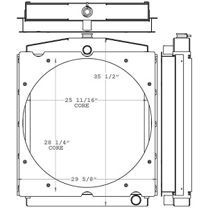 Toyota 450665 Radiator drawing labeled with sizing info