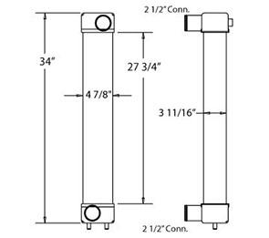 Komatsu 280078 charge air cooler drawing